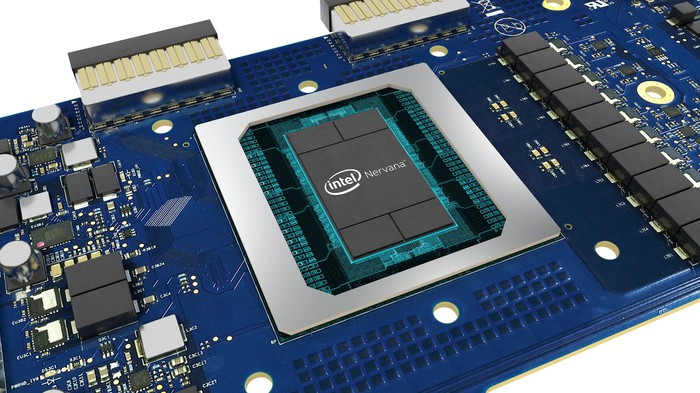 A circuit board featuring a Intel Nervana processor.