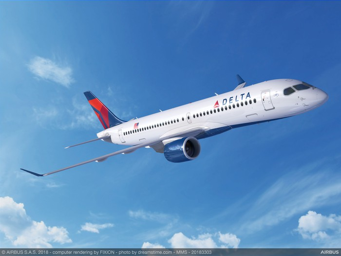 A rendering of an A220-300 in Delta's livery