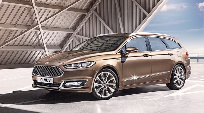 A Ford Mondeo Vignale wagon, an upscale midsize station wagon closely related to the U.S.-market Fusion sedan.