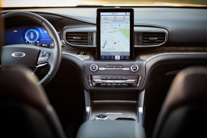 The dashboard of a 2020 Ford Explorer Platinum, showing a large touchscreen above the center stack.