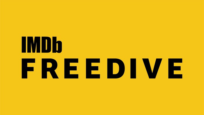 Black lettering on a yellow background that says IMDb Freedive.