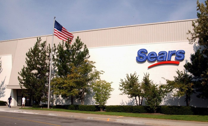 The exterior of a Sears department store with an American flag in front.