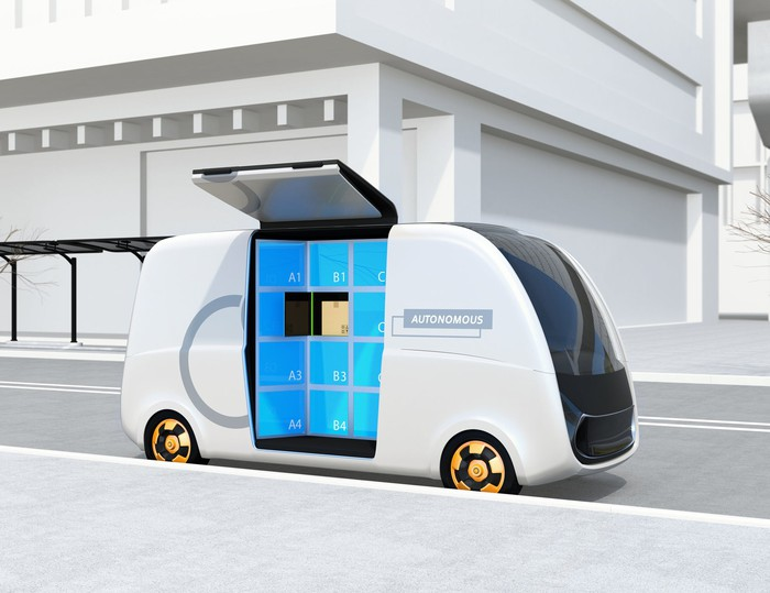 Concept art for an autonomous delivery van.