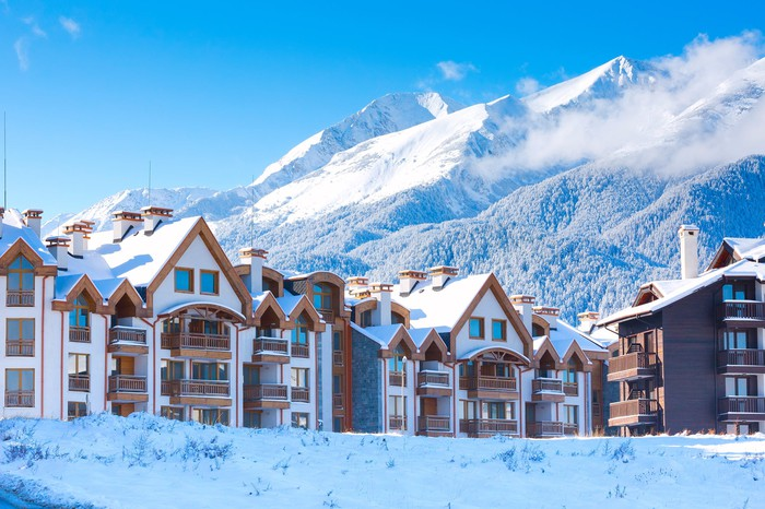 Mountain resort development in the winter.