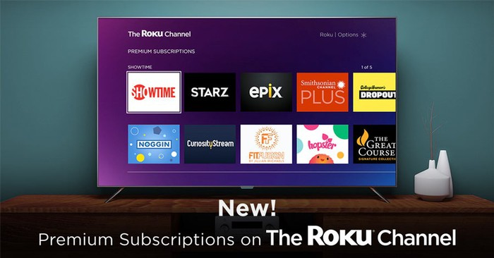 A TV showing multiple premium subscriptions available on The Roku Channel.