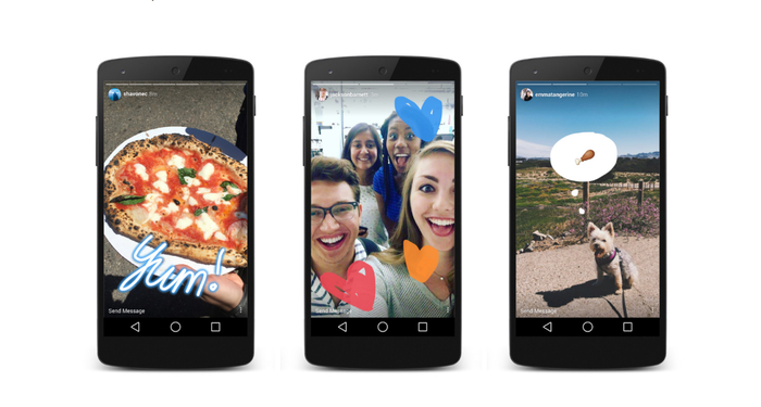 Three smartphones displaying Instagram Stories