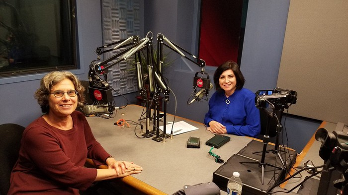 Donna Dubinsky and CNET Editor-in-Chief Connie Gugliemo in studio following an interview.