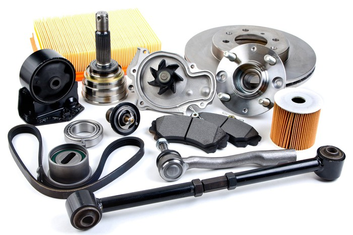 A collection of car parts