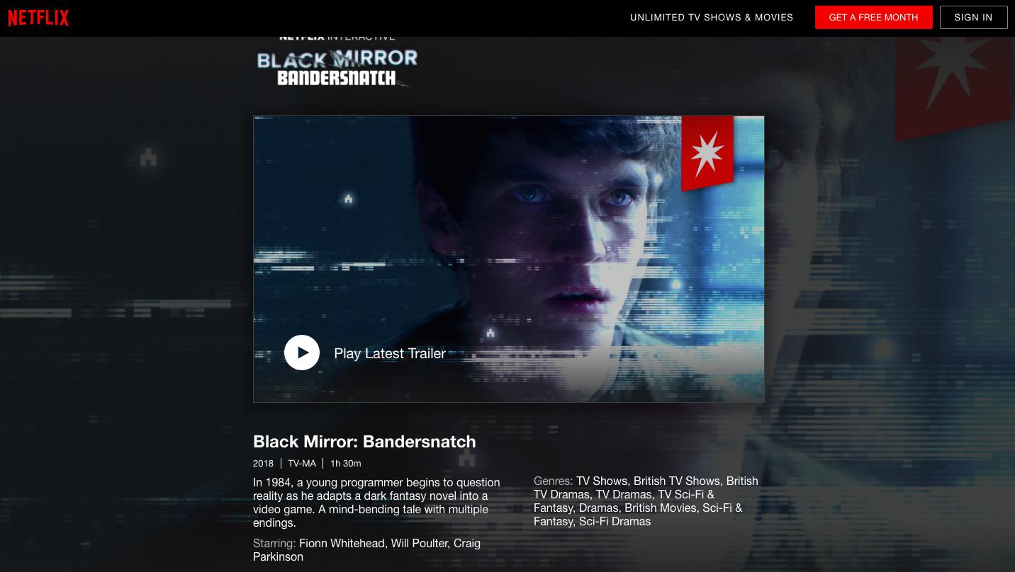 "The page for Netflix's original show ""Bandersnatch"" seen on Netflix's platform"