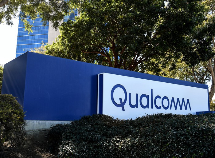 Qualcomm sign at its headquarters