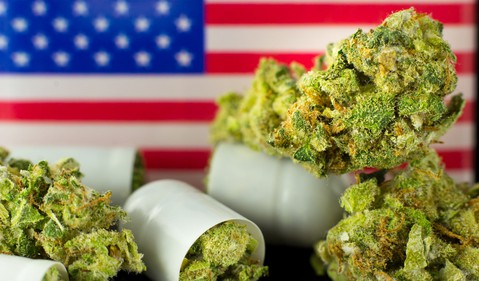 marijuana buds with american flag GettyImages-918497420