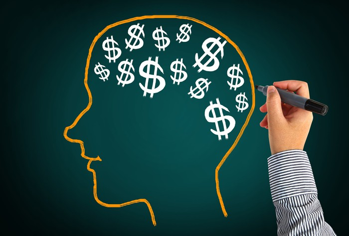 A hand is shown having drawn an outline of a head full of dollar signs.