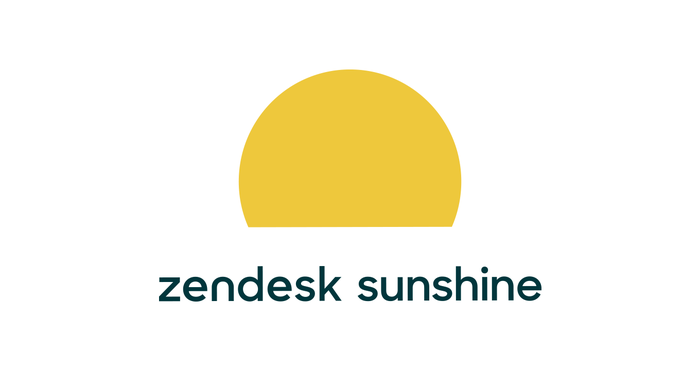 A rising sun with the words zendesk sunshine featured underneath