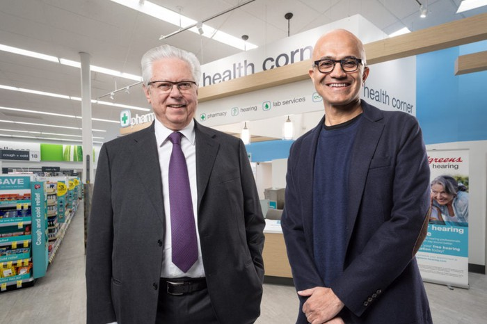 Stefano Pessina, executive vice chairman and chief executive officer of WBA (left), and Microsoft CEO Satya Nadella (right).