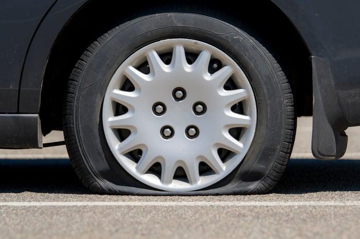A flat tire on a car