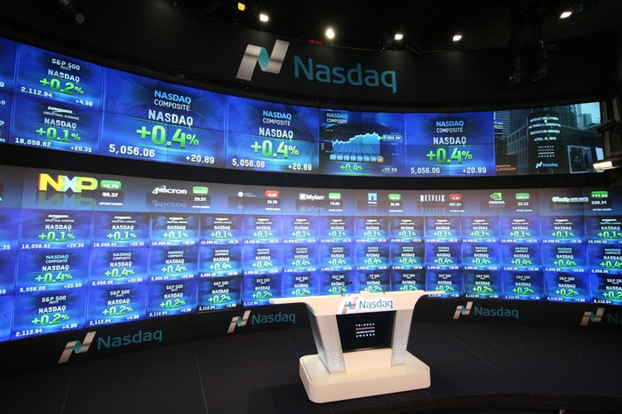 A television studio inside the Nasdaq stock exchange, with the big board of quotes in the background.