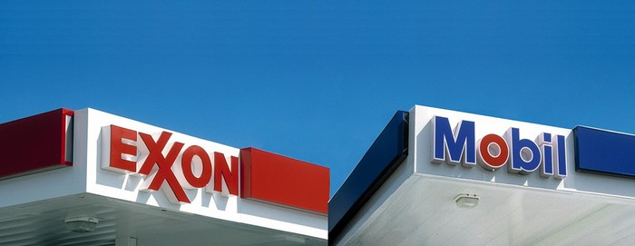 Two awnings, one with Exxon and one with Mobil logo.