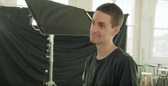 Snap CEO Evan Spiegel, during filming of an explanatory video about Snapchat's new design for its YouTube page.