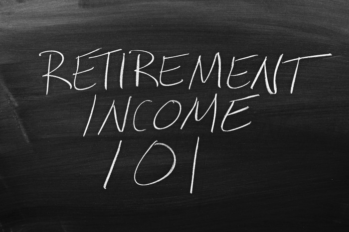 "The words ""RETIREMENT INCOME 101"" printed on a blackboard"