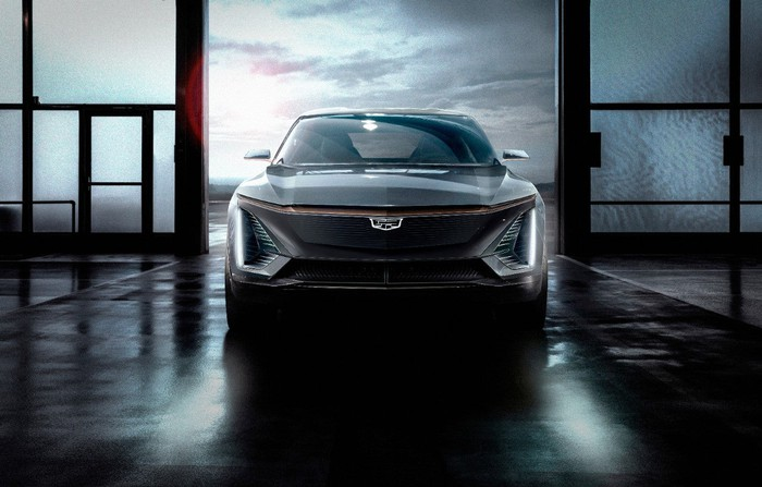 A head-on view of the upcoming electric Cadillac crossover SUV. The grill resembles those on the latest Cadillacs, but larger and more sharp-edged.
