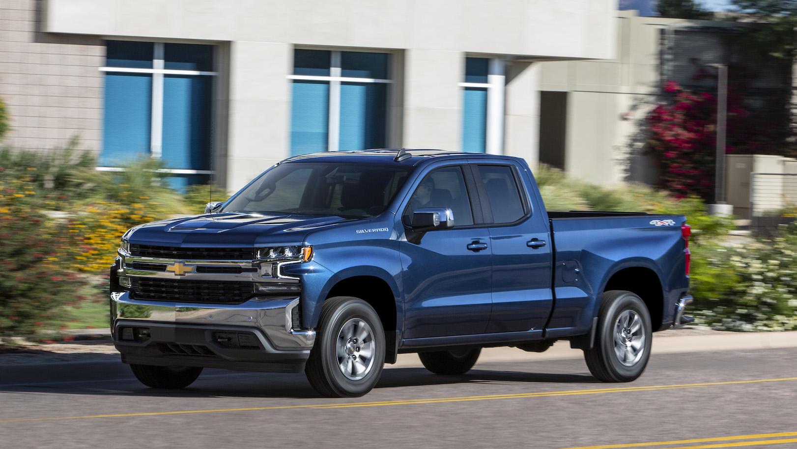 A blue 2019 Chevrolet Silverado, a full-size pickup truck.