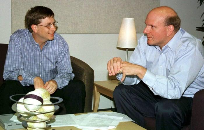 Bill Gates and Steve Ballmer sitting