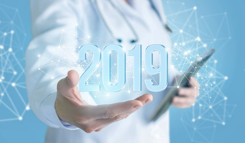 Doctor with 2019 in hand