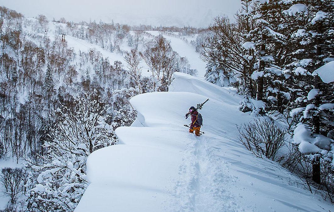 A skier in high tech outerwear treks towards a mountain slope.