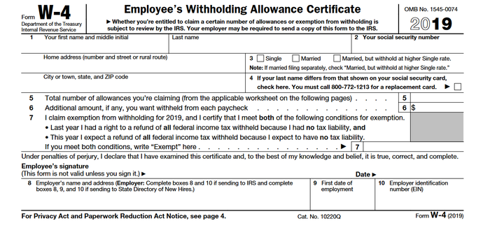 IRS form labeled W-4 Employee's Withholding Allowance Certificate.
