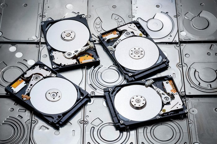 A bunch of hard disks.
