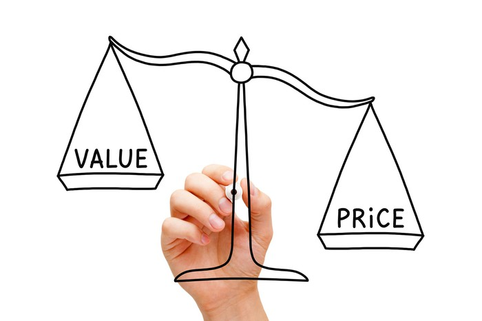 A hand drawing a scale that is weighing value and price