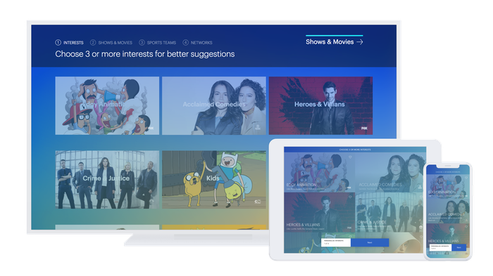 Hulu interface on a TV, a tablet, and a smartphone