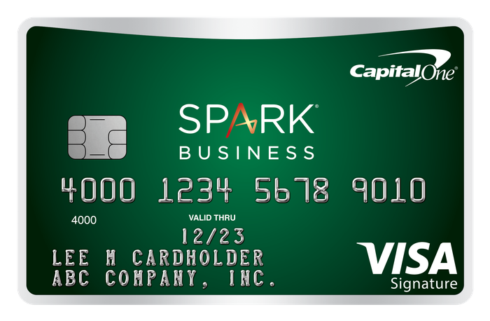 Green credit card with Capital One Spark Business branding.
