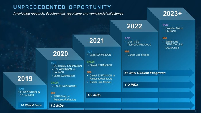 Chart listing expected activities for bluebird during 2019-2023.
