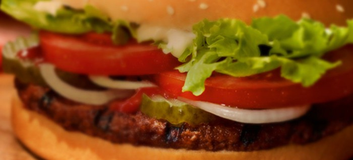 Close-up of a Whopper hamburger.