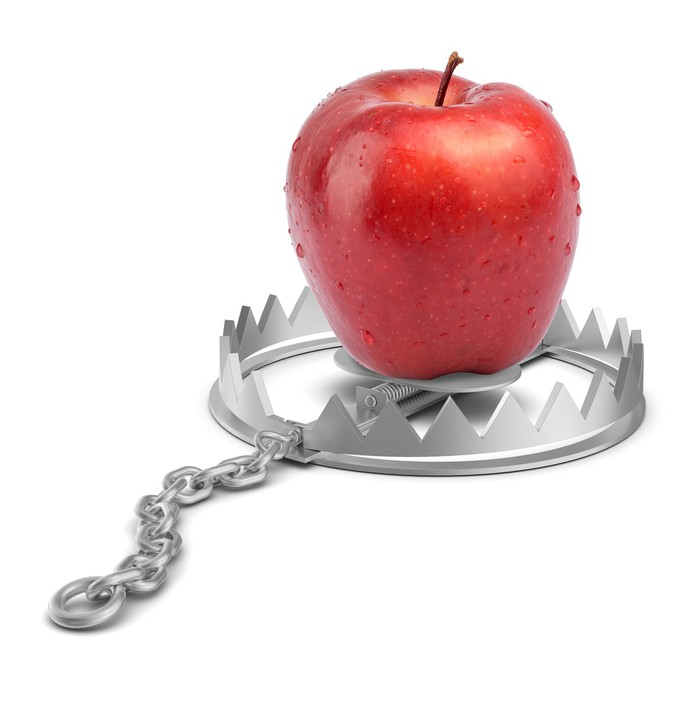 An Apple sits atop a bear trap.