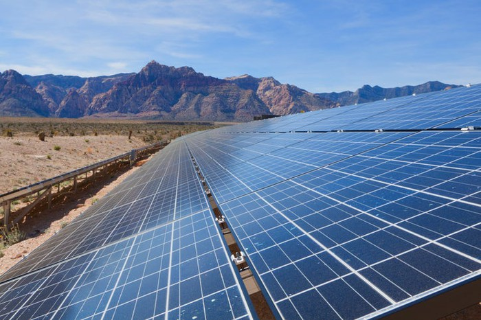 A utility-scale solar power plant in the desert.