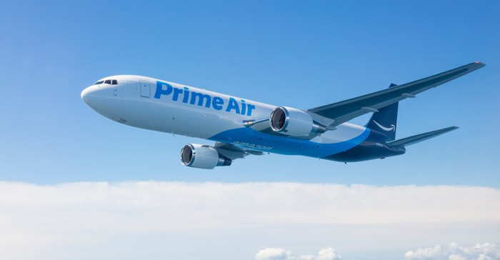 Amazon Air plane in flight