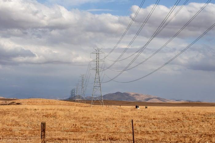 Power lines crossing a field.