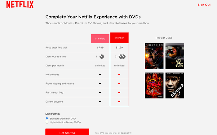 Netflix's homepage for its DVD subscription plans.