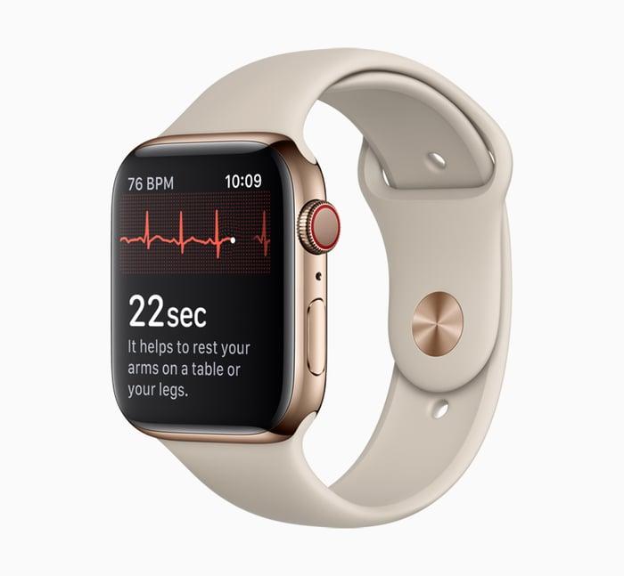 An Apple Watch taking a heart reading.