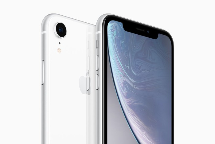 Image of the front and back of an iPhone XR.