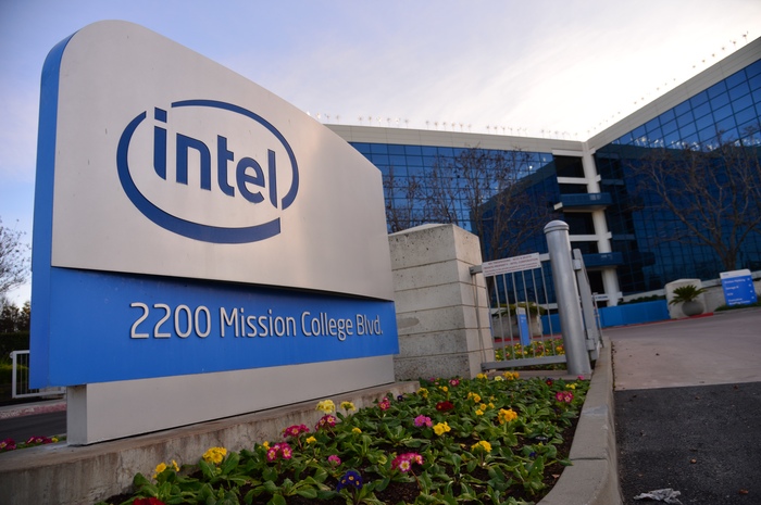 A sign with the Intel logo.