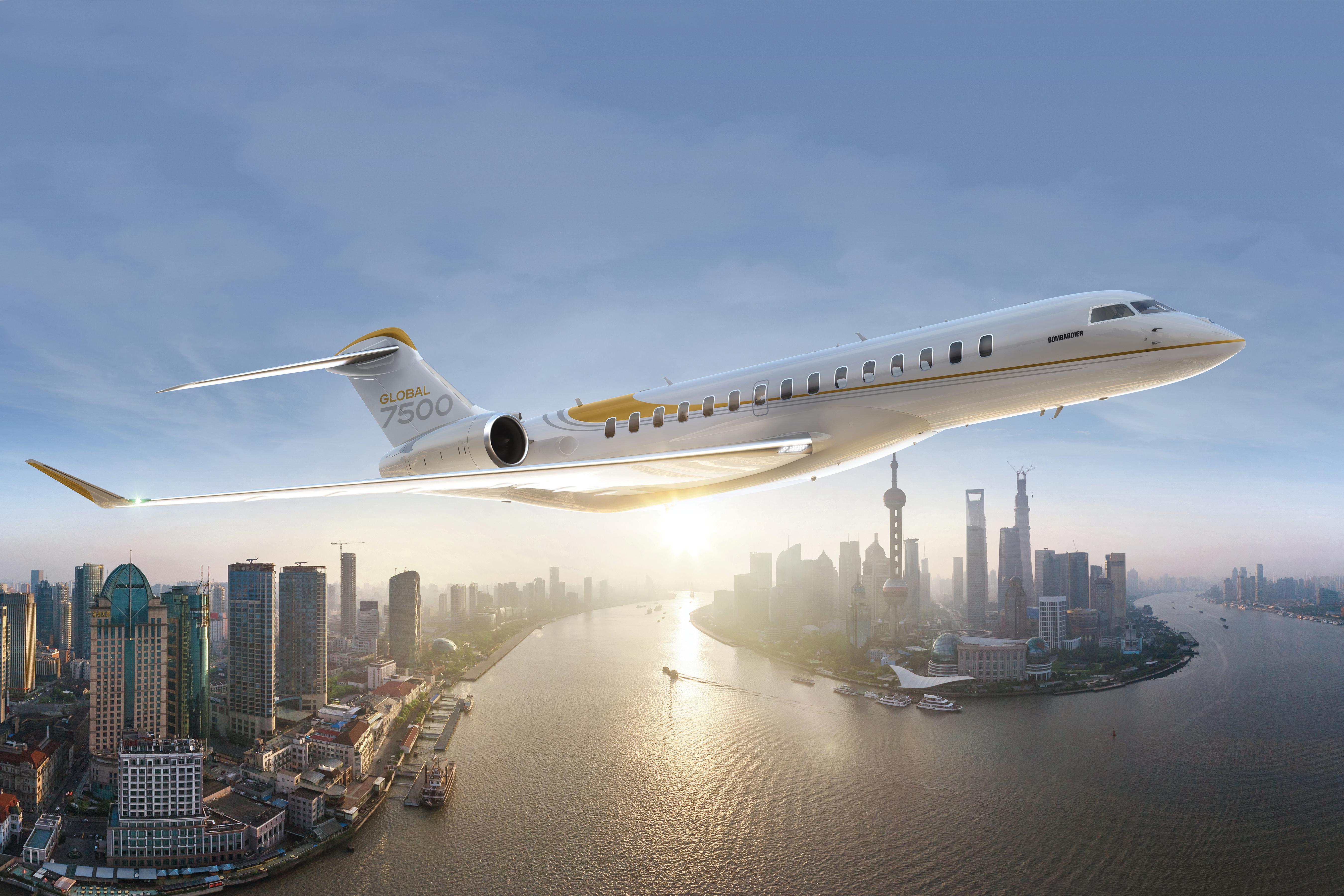 Artist rendering of Bombardier Global 7500 in flight.