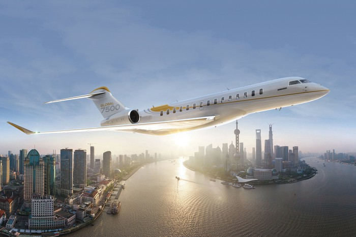 Artist rendering of Bombardier Global 7500 in flight.