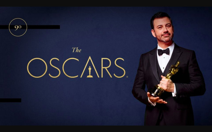 An ad for the 2019 Oscars with TV talk show host Jimmy Kimmel holding an Oscar statuette.