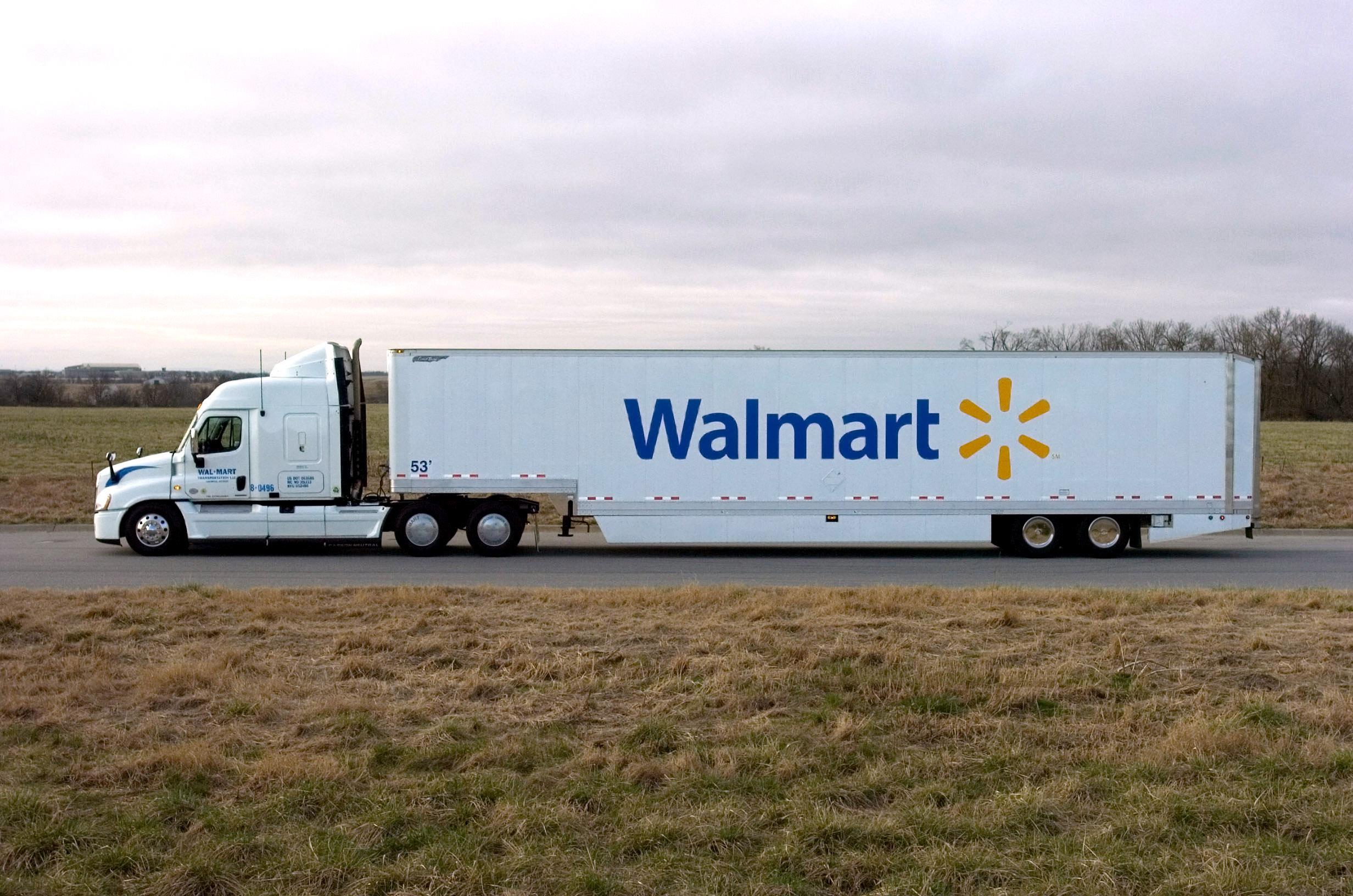 A Walmart tractor trailer