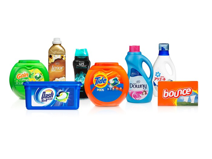 An assortment of Procter & Gamble fabric care products.