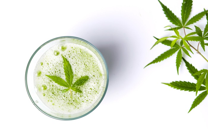 A cannabis leaf lying atop the carbonation of a beverage in a glass, with cannabis leaves off to the right of the glass.