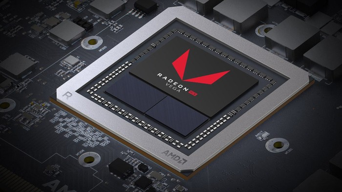 An AMD Radeon Vega graphic chip.